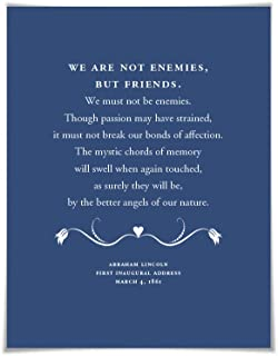 Abraham Lincoln Presidential Inaugural Speech Art Print. 60 Colours/3 Sizes. Better Angels of our Nature. American History Poster