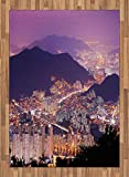 ABAKUHAUS Urbano Alfombra de Área, Horizonte De Busan Corea, Ideal para Sala de Estar o Comedor Resistente a Manchas, 160 x 230 cm, Violeta Púrpura