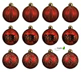 KAE Weihnachtskugeln Glas 8cm 12er Set rot Gold Christbaumkugeln Weihnachtsschmuck