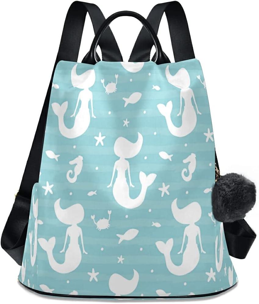 YVONAU Mermaid unisex Elegant Nautical Starfish Seahorse for Purse Wom Backpack