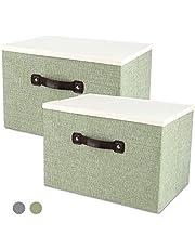収納ボックス 収納ケース 整理箱 蓋付き 綿麻製 大容量 コンパクト 折り畳み 積重ね 省スペース 防塵 無臭 取っ手付き 衣類 おもちゃ 書類 CD 雑貨など収納できる整理箱 寝室 クローゼットに適用 2個組み