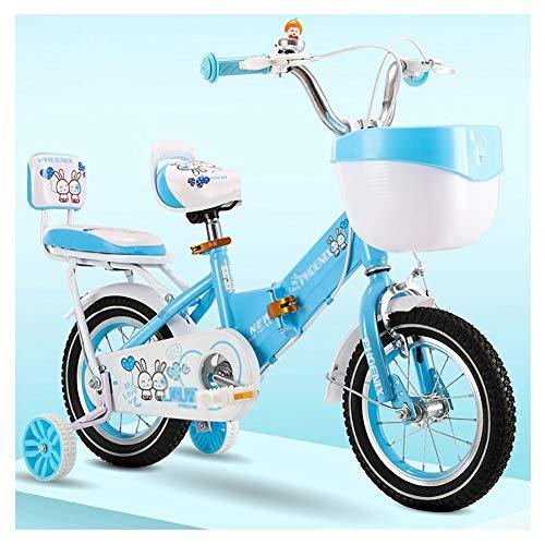 Bicicleta enérgica Niña Plegable for Niños De 2 A 11 Años for Niños Frenos Duales Sensibles Altura Ajustable ( Color : Blue , Size : 16 Inch )