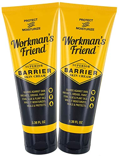 Workman's Friend Barrier Working Hand Cream - Moisturizes & Provides Superior Hands Skin Barrier Protection From Grease, Glue, Dirt, Paint and Oils - 3.38 ounces, 2 Pack