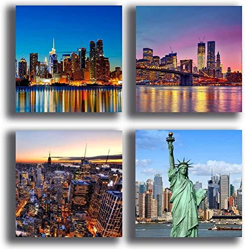 Printerland Quadri New York Manhattan 4 Pezzi 30x30 cm Arredamento Arte Astratto XXL Arredo per Soggiorno Salotto Camera da Letto Cucina Uffico Bar Ristorante, Legno, Stampa su Tela Canvas