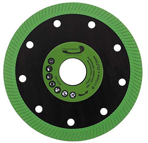 PRODIAMANT Disco de corte de diamante Color Flash 115 mm x 22,23 mm para azulejos y gres porcelánico, disco de diamante verde 115 mm