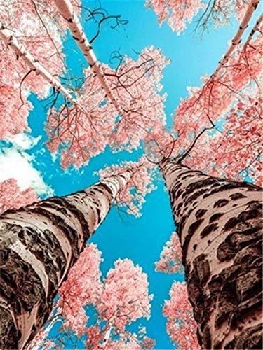 Taladro redondo 5D DIY pintura de diamante'paisaje de flor de cerezo' bordado punto de cruz decoración de diamantes de imitación completa A4 45x60cm