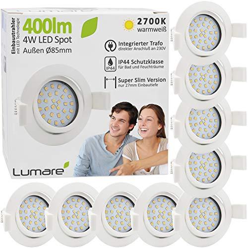 9x Lumare LED Einbaustrahler 4W 400lm 230V IP44 Ultra flach Wohnzimmer, Badezimmer Einbauleuchten weiss rund, 68mm EinbauØ Mini Slim Spot warmweiß