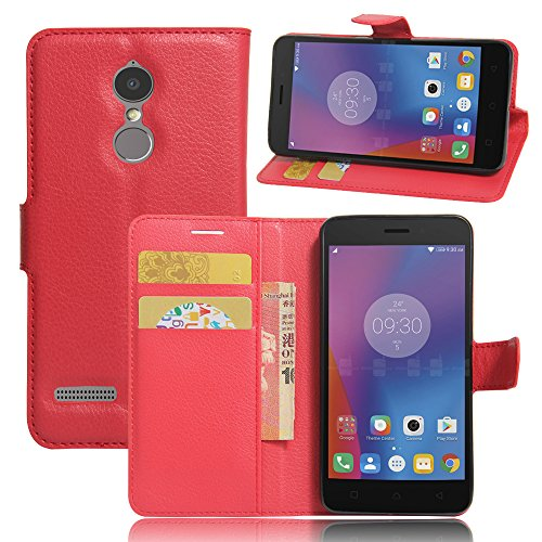 JARNING Lenovo K6/K6 Power Case Leather Wallet Flip Cover with Card Slots Magnetic Closure Kickstand Slim Premium Phone Case for Lenovo K6/K6 Power-Red