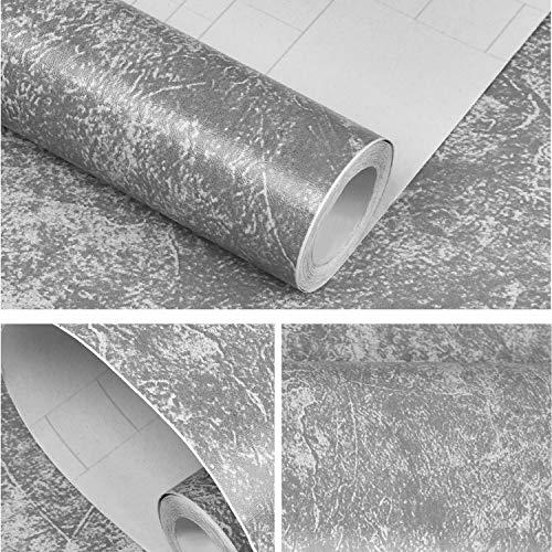 Sunm Boutique Selbstklebende Folie Grau Klebefolie in Heller Grau Selbstklebende Möbelfolie Abnehmbar Möbelfolie Folie Tapete Dekofolie für Wände Schränk Wasserdicht Möbel, 45cm×5m