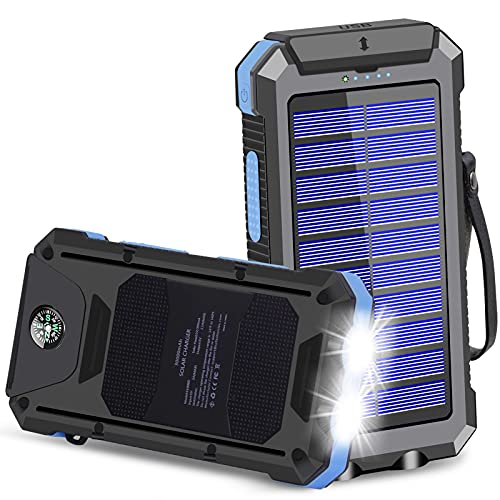 Solar Charger, 30000mAh USB C Portable Solar Power Bank with Dual USB/LED Flashlights, Waterproof External Backup Battery Pack for Smartphones and Tablets