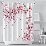 LEIhhdy 180 * 200 cm Mädchen Badezimmer Wasserdicht Polyester Tuch Display Rosa Kirschblüte Pfirsichblüten Duschvorhang Weißer Hintergr&