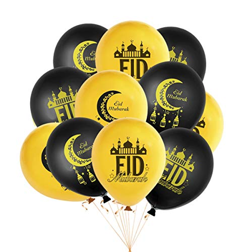 Eid Mubarak Latex Balloons - 20 Balloons - With Festive Print - Celebrate With Friends & Family