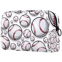 コスメティックバッグレディースメイクアップバッグ 化粧品交換キーなどを携帯する旅行に,野球ソフトボールボールグラフィックス