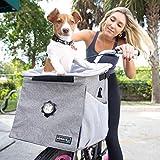 elabark Pet Carrier Backpack and Dog Bike Basket with Adjustable Shoulder Strap, Grey - 4-in-1 Versatile Dog Carrier Backpacks and Car Seat for Small Dogs (Grey)