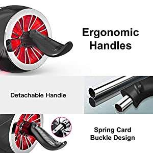TECHMOO Ab Roller Kinetic Ab Rollers Wheel Fitness Equipment for Core Workout Abdominal Exercise Durable Core Strength Abdominal Trainers with Knee Mat Wrist Protection Ergonomic Handles(Red)