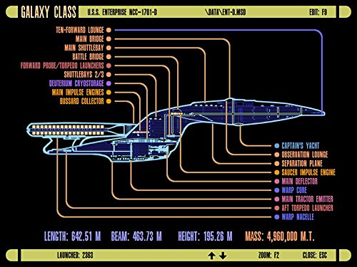 The Museum Outlet LCARS UFP Galaxy Class Raumschiff, A3 Posterdruck