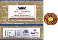 Billion Deals-Satya Nag Champa Gold Gleam Incense Sticks 15gX12pc (180g)+ Free Wood Stand