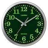 ランデックス(Landex) 掛け時計 アナログ 連続秒針 33cm サイレントライナー 集光文字盤 シルバー YW9153SV