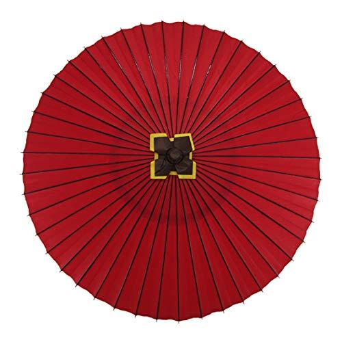 蛇の目傘 無地 別注品 実用蛇の目傘 雨傘 防水加工 (赤)