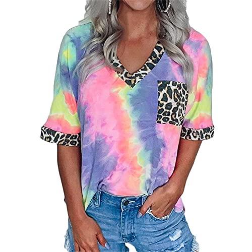 Mayntop Camiseta de verano para mujer con estampado de leopardo, manga corta, manga larga, cuello en V, suelta, blusa, A-rosa, 36