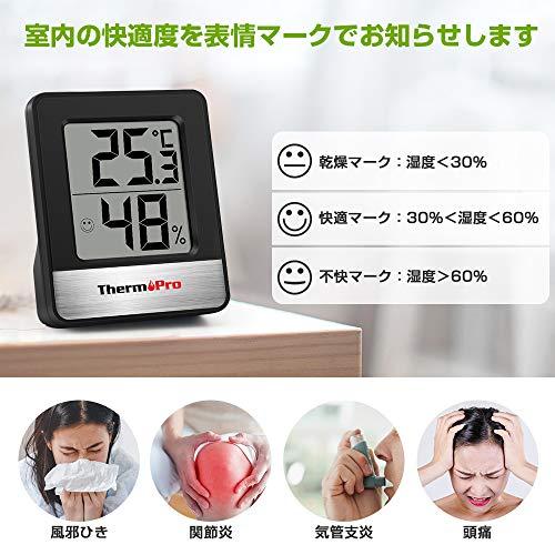 ThermoPro温度計湿度計室内小さい温湿度計デジタル見やすいブラックTP49