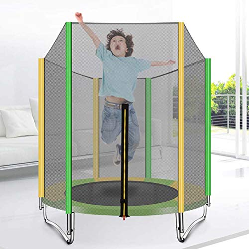 LANGWEI Folding Trampoline with Enclosure, 60' Bungee Rebounder with Heighten Safety Net Jumping Bed Baby Care Fence for Adult Kids Home Gym Outdoor Garden