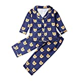 Carolilly - Conjunto de pijama infantil de manga larga para bebé (satén), diseño de oso o lunares Bleu Ours 12-24 meses