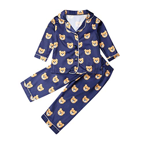 Jungen Mädchen Kinder Seiden Pyjama Set Langarm Nachtwäsche Kinder Nachtwäsche Polka Dot Nachthemd (A, 5-6 Jahre)