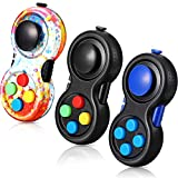 3 Pieces Fidget Pad Toys Rainbow Fidget Controller Pad Anxiety Toys Fidget Controller Pad Fidget Blocks Fidget Game Pad Fidget Focus Toy for Teens and Adults with ADD OCD Autism Stress Relief