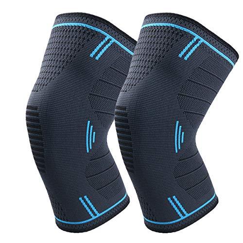 Kniebandage Kompression für Sport Kniestütze für Damen und Herren Knieorthese Knie Sleeve - Volleyball, Basketball, Crossfit,Running (Paare)