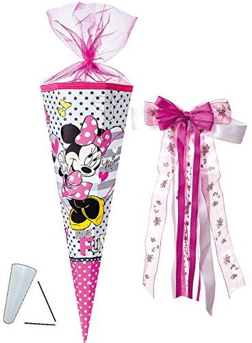 alles-meine.de GmbH Schultüte -  Disney Minnie Mouse  - 85 cm - eckig - incl. große Schleife - Organza Abschluß - Zuckertüte - mit / ohne Kunststoff Spitze - für Mädchen / Maus..