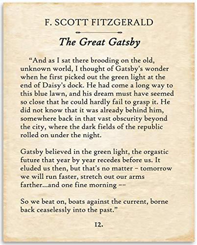 F. Scott Fitzgerald - The Great Gatsby - 11x14 Unframed Typography Book Page Print - Great Gift for Twentieth-Century Literature Fans Under $15