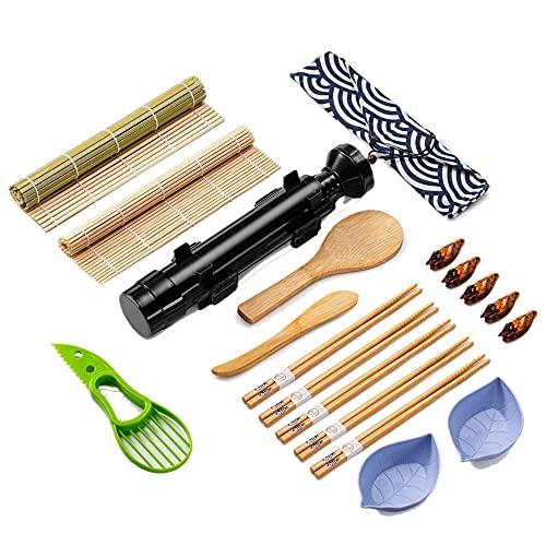 SUSHI MASTER Kit sushi completo 19 pezzi, set sushi kit con tappetini, bacchette, stampo, ciotola di soia, macchina sushi bazooka. Kit per sushi in casa, sushi maker con stoviglie giapponesi in bambu.