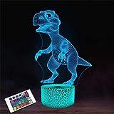 Lámpara 3D LED USB Dinosaurio para la Decoración de la Barra Grabado Acrílico Mesa Alimentada por Batería USB Cambio de Color