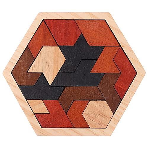 TOYANDONA 1 conjunto de madeira hexágono enigma geometria padrão blocos de teaser de cérebro