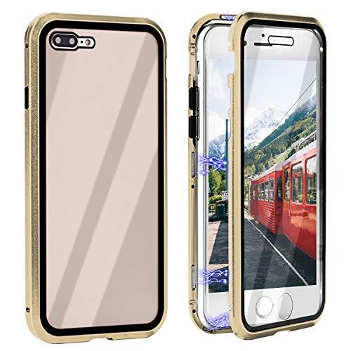 Coque iPhone 7 Plus Aimant, iPhone 8 Plus Coque en plein écran 360 degrés monobloc Etui pour téléphone en verre trempé avec vitre pare-balles Coque arrière pour iPhone 7 Plus iPhone 8 Plus 5.5 pouces