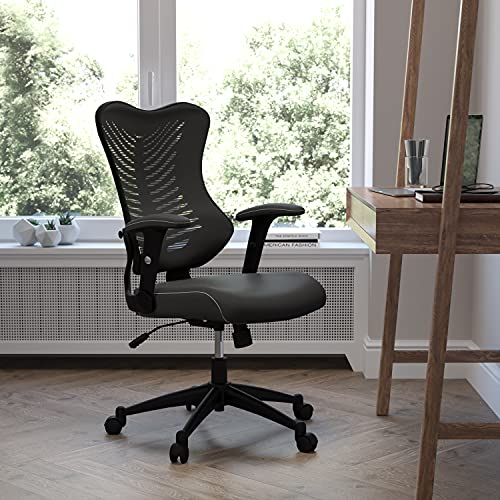 Flash Furniture High Back Designer Black Mesh Executive Swivel Ergonomic Office Chair with LeatherSoft Seat and Adjustable Arms