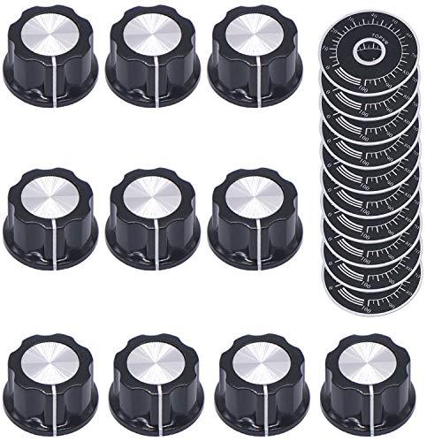 Taiss/10 Stücke A03-6mm Einstellbare Bedienknöpfe für 6 mm Durchmesser Welle Potentiometer + 10 Stück 0-100 Scale Sheet
