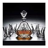 Whisky Decanter de 5 piezas Whisky Decanter Glasses Set 100% Free Crystal Glass Whiskey Decanter 650ml con cubierta de vidrio FAST SOBER UP para el vino tinto Licor de brandy vasos cristal WUTONG