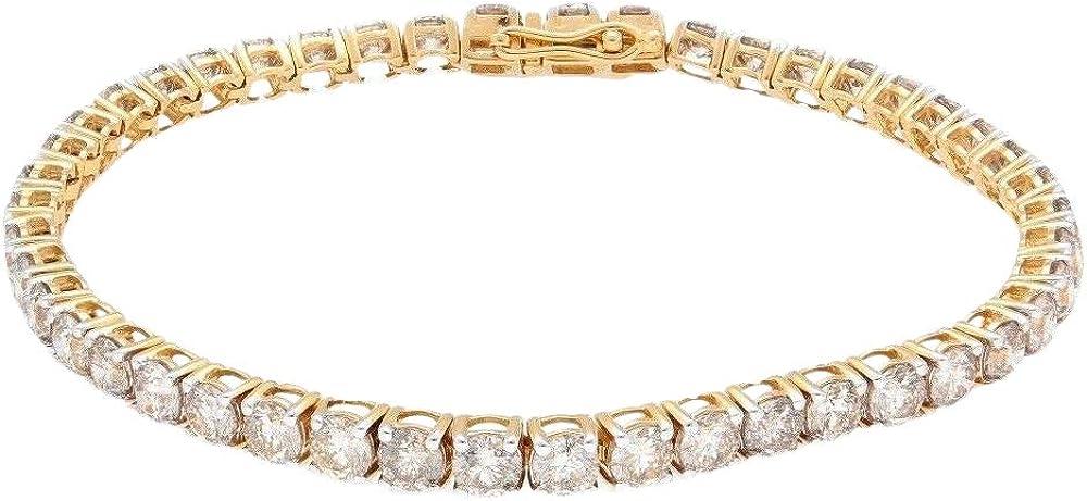 Bracciale da donna in oro giallo 18 carati con diamanti 7,25 9,00 ct 324971