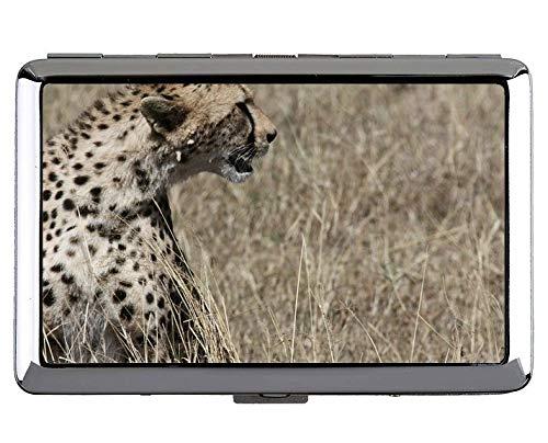 Zigarettenetui, Cheetah Cat Family Leopard Visitenkartenetui Edelstahl (Silber)