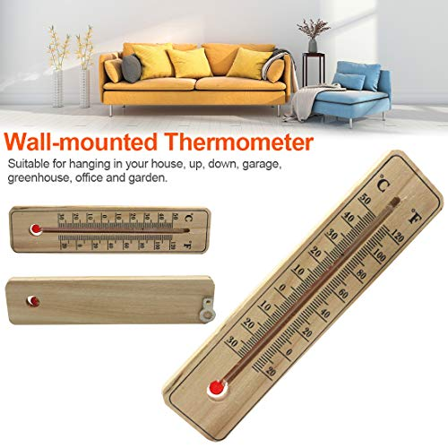 Gartengarage Office Wandthermometer Hochpräzises Thermometer aus massivem Eukalyptusholz mit Temperaturangaben in Celsius und Fahrenheit