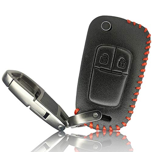 FoilsAndMore für Opel Chevrolet Autoschlüssel Hülle 2-Tasten Schutzhülle Leder Tasche Car Cover Accessoires Opc Auto-Liebhaber Klapp Flip