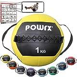 POWRX Wall Ball con Asas Laterales 1 kg - Ideal para Ejercicios de »Functional Fitness«, fortalecimiento y tonificación Muscular - Agarre Antideslizante + PDF Workout (Amarillo)
