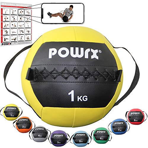 POWRX Wall Ball Asas Laterales 1 kg - Ideal Ejercicios