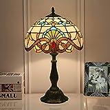 QHENS Lámpara De Mesa Noche Tiffany Para Dormitorio, Vintage Lámpara De Escritorio Mesita, Lampara Sobremesa Con Vitrales Hechos A Mano, E27