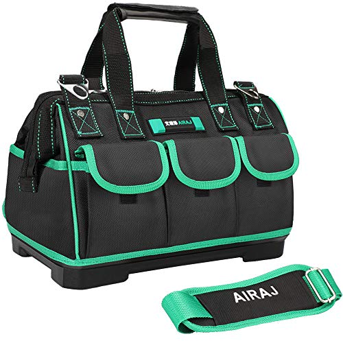 AIRAJ 18in Waterproof Tool BagWide Mouth Multipocket Tool Organizer with Adjustable Shoulder StrapSuitable for Electrician Woodworking Tool Storage Bag18 in