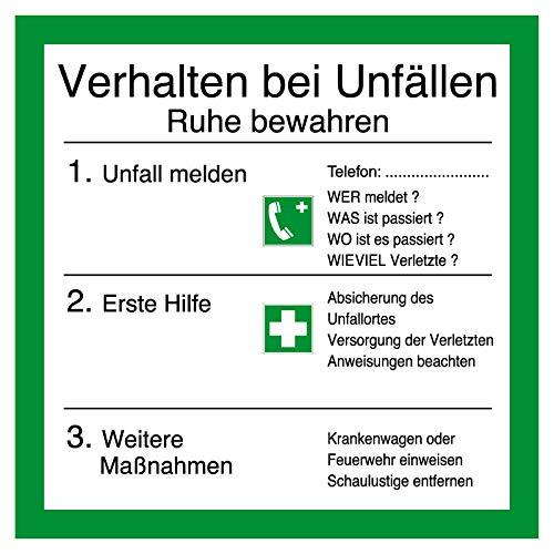 Aushang am Arbeitsplatz - Verhalten bei Unfällen - Kunststoff - 30 x 30 cm
