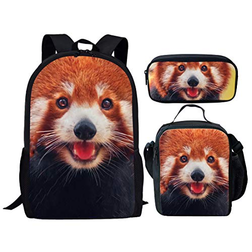 Agroupdream School Bag Set Travel Backpacks with Cooler Warm Picnic Lunch Tote Bags Multifunction Coins Pen Cover Case Holder Lesser Panda