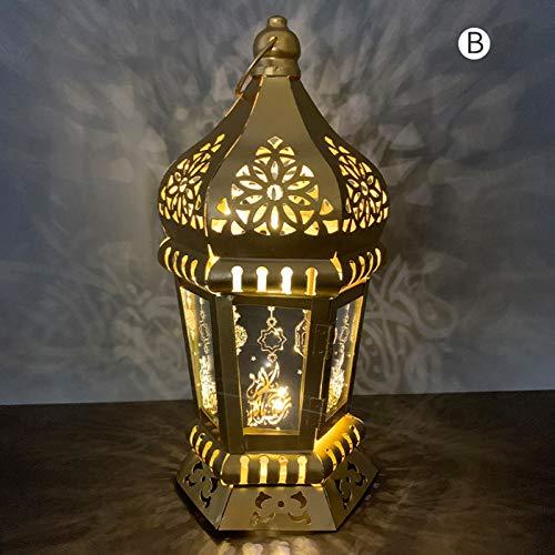 YFANHAN Ramadan Lights Eid Al-Fitr Fabricado De Hierro Forjado Linternas De Viento, Iluminación De Velas LED, Adornos De Artesanía Colgantes para Ramadan Mubarak Lámpara Decoración, Adornos,B